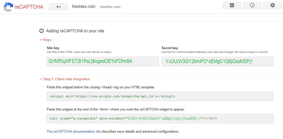 reCAPTCHA Key