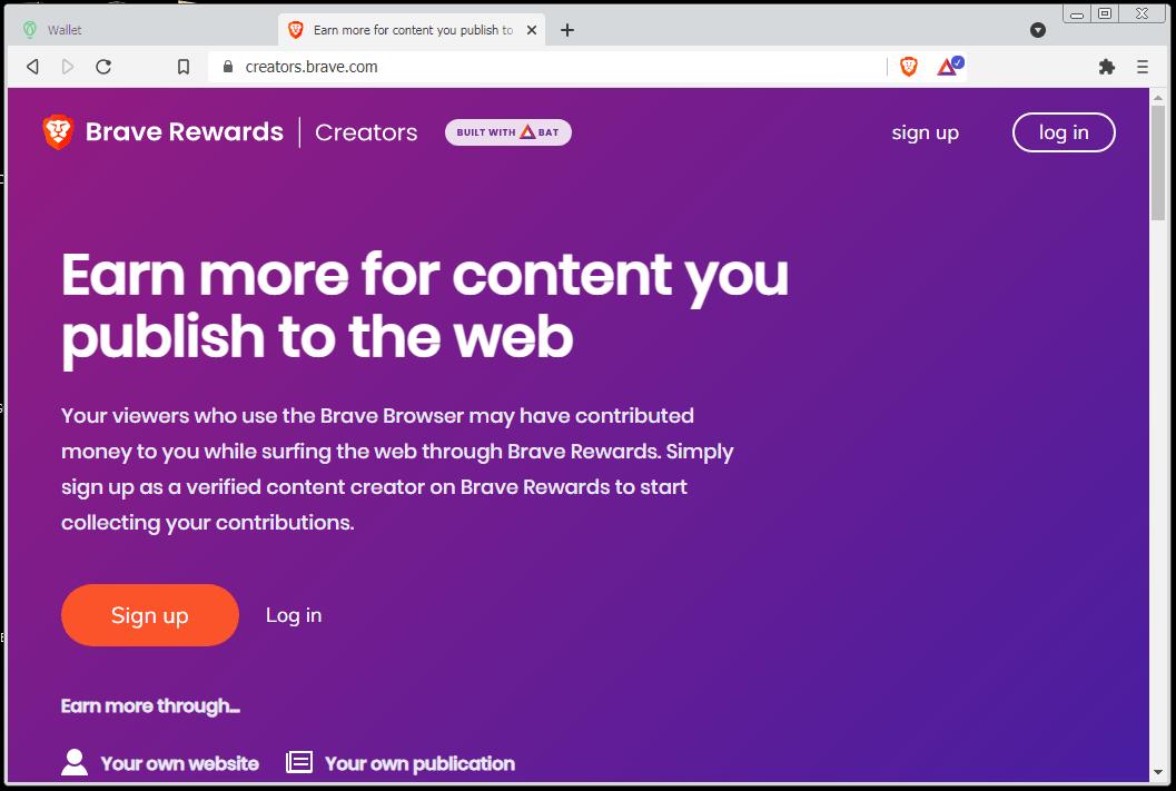 Brave Creators Splash Page