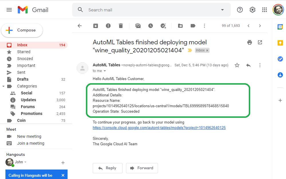 Deployed Email