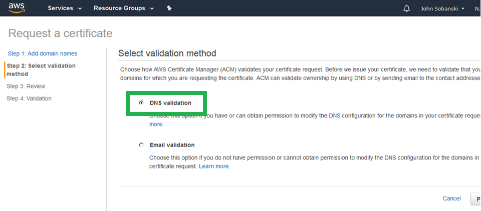 Select DNS Validation