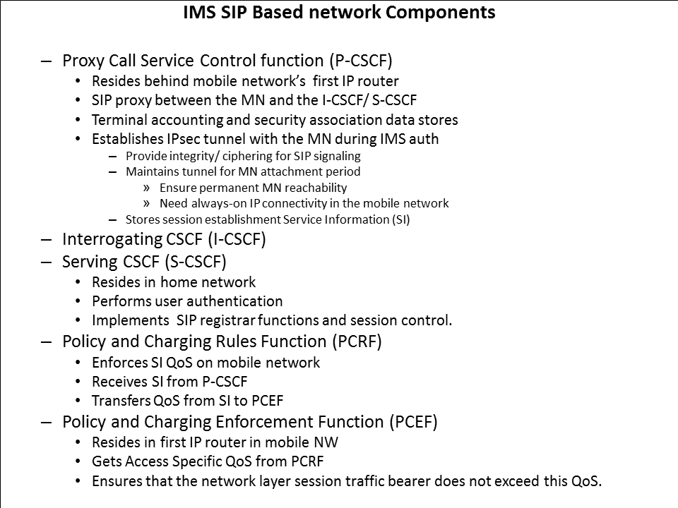 IMS SIP Based Network Components