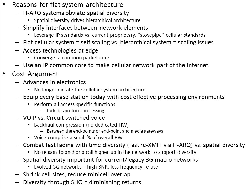 Reasons for a flat architecture